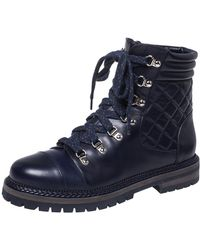 Chanel Blue Quilted Leather Cc Lace Up Combat Boots