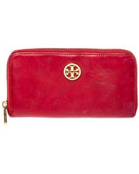 Tory Burch - Red Leather Robinson Zip Around Wallet - Lyst