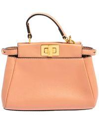 Fendi Peach Leather Micro Peekaboo Crossbody Bag - Orange