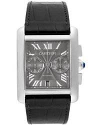 Cartier Tank Mc Chronograph Grey Dial Grey Leather Mens Watch