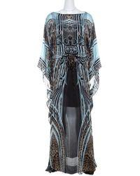 Roberto Cavalli Multicolour Leopard Print Silk Maxi Kaftan Dress S