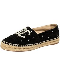 Chanel Black Suede Leather And Faux Pearl Cc Espadrille Flats