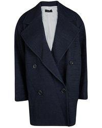 JOSEPH Navy Blue Summer Tweed Double Breasted Maubert Coat