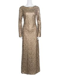 Tadashi Shoji - Gold Laser Cut Embroidered Leatherette Long Sleeve Boat Neck Gown - Lyst