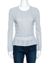 Dior Grey Pointelle Knit Ruched Detail Top M