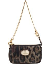 Roberto Cavalli Brown/gold Leopard Print Coated Canvas And Leather Pochette