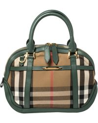 Burberry Green House Check Canvas And Leather Orchard Bowler Bag