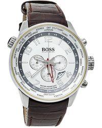 BOSS by Hugo Boss Hugo Boss Silver Stainless Steel Leather 1512739 Wristwatch 44 Mm - Metallic