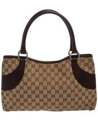 Gucci Beige/brown GG Canvas And Leather Tote - Natural