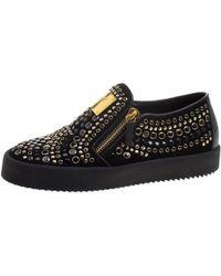 Giuseppe Zanotti - Stud Embellished Suede Eve Slip On Sneakers - Lyst