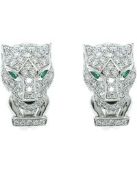 Cartier - Panthere De Diamond Emerald & Onyx 18k White Gold Earrings - Lyst