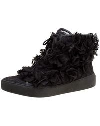 Chanel Black Cc Camellia Lace High Top Sneakers Size 37.5