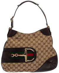 Gucci - Beige/brown GG Canvas And Leather Hasler Hobo - Lyst