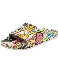 Vetements White/multicolor Leather Sticker Slippers