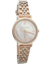 Michael Kors Mother Of Pearl Rose Gold Tone Stainless Steel Mk3643 Wristwatch - Pink