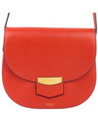 Céline Red Leather Small Trotteur Crossbody Bag