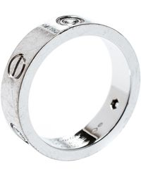 Cartier Love 3 Diamonds 18k White Gold Band Ring Size 56 - Metallic