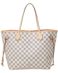 Louis Vuitton Damier Azur Canvas Neverfull Mm Bag - Gray