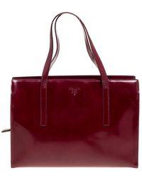 Prada Red Patent Leather Top Zip Satchel