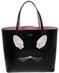 Kate Spade Black Leather Rabbit Little Len Tote