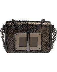 Tom Ford Metallic Silver Python Medium Natalia Chain Shoulder Bag