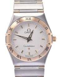 Omega Silver 18k Yellow Gold And Stainless Steel Constellation 1372.30 Quartz Wristwatch 25 Mm - Metallic