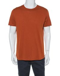 Loro Piana Rust Orange Silk Knit Crewneck T Shirt