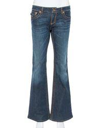 Roberto Cavalli Dark Blue Denim Logo Detail Bootcut Jeans
