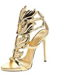 Giuseppe Zanotti Gold Leather Baroque Leaf Sandals Size 38 - Metallic