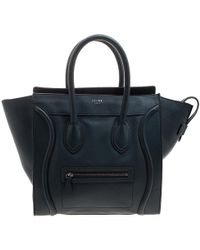 Céline Navy Blue Leather Mini Luggage Tote