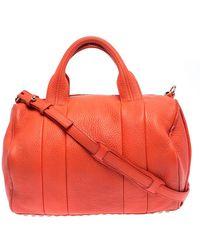 Alexander Wang Orange Pebbled Leather Rocco Duffel Bag