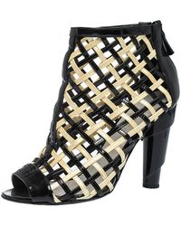 Chanel Black/white Woven Caged Open Toe Swirl Heel Booties