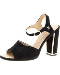 Chanel - Suede Ankle Strap Block Heel Sandals - Lyst