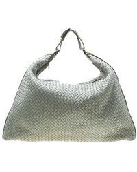Bottega Veneta Grey/brown Intrecciato Leather And Crocodile Trim Maxi Hobo - Gray