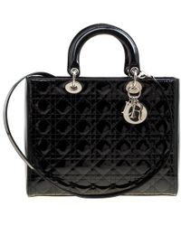 Dior - Black Patent Leather Large Lady Tote - Lyst