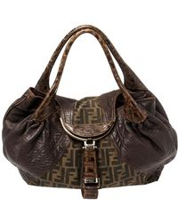 Fendi Tobacco Zucca Canvas And Leather Spy Bag - Brown