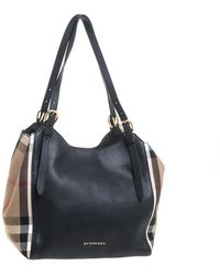 Burberry Black House Check Canvas And Leather Small Canterbury Tote