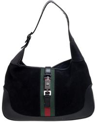 Gucci Black GG Suede And Leather Small Jackie Nailhead Hobo