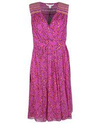Diane von Furstenberg Shalamar Pink Floral Printed Silk Sleeveless Bali Wrap Dress L