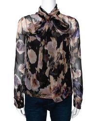 Dior Black & Peach Floral Print Silk Neck Tie Detail Blouse