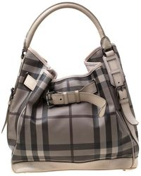 Burberry Beige Smoked Check Pvc And Leather Walden Hobo - Natural