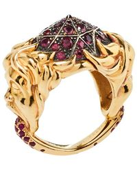 Boucheron Ruby Carved Face 18k Yellow Gold Dome Cocktail Ring - Red