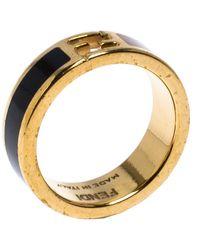 Fendi The Sta Bi-color Enamel Gold Tone Band Ring - Metallic