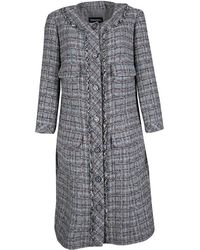 Chanel Gray Checkered Tweed Chain Embellished Buttoned Dress Coat Xl