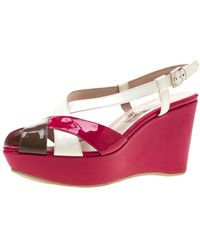 Ferragamo Tricolor Patent Leather Cross Ankle Starp Wedge Sandals - Multicolor