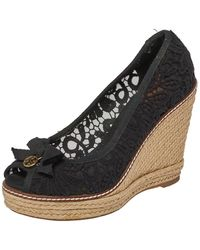 Tory Burch Black Lace And Canvas Trim Bow Wedge Espadrille Court Shoes