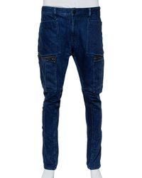 Stone Island Navy Blue Denim Cargo Pocket Detail Jeans
