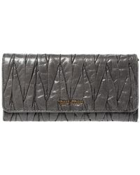 Miu Miu - Grey Matelasse Leather Flap Continental Wallet - Lyst