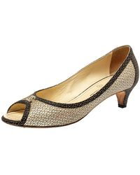 Chanel Two Tone Textured Leather Open Toe Cc Court Shoes - Natural