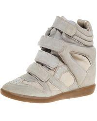 Isabel Marant Grey Suede Bekett Wedge Sneakers